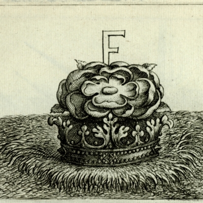 """F"" on a rose in a crown"