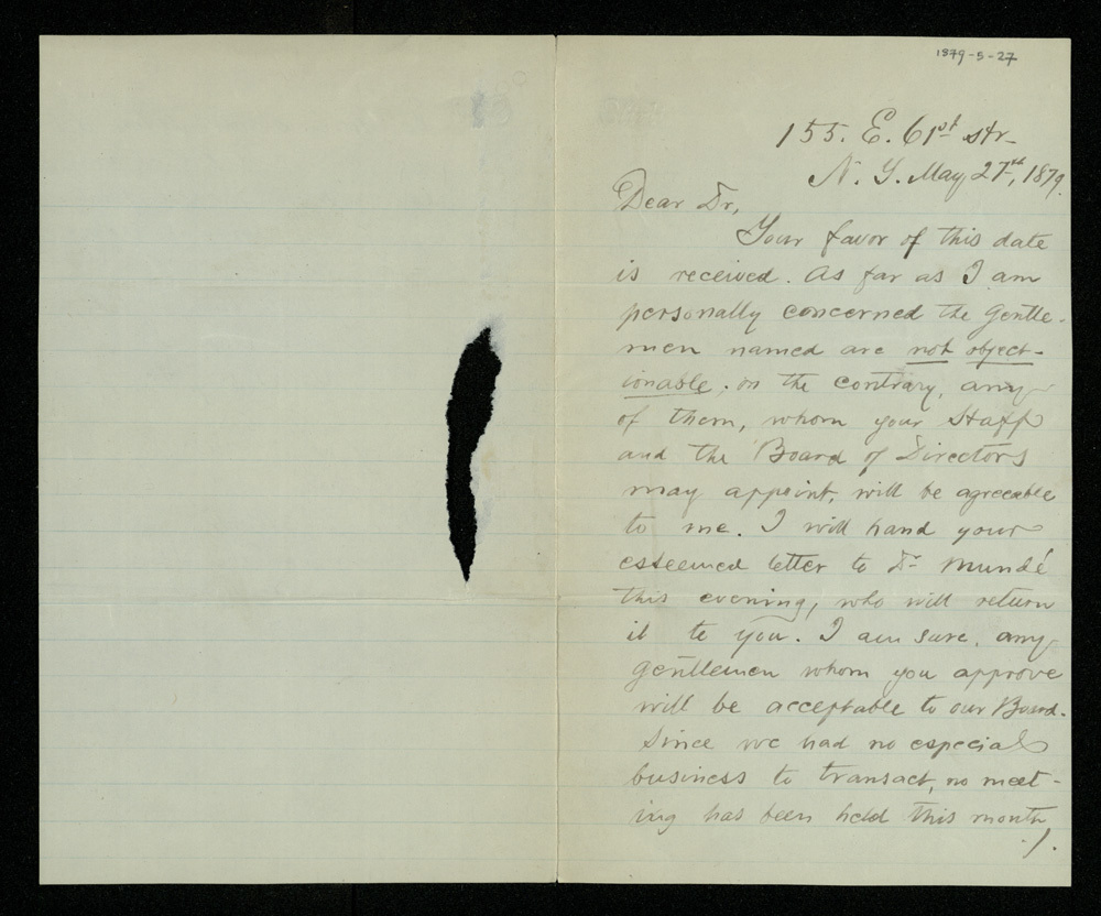 Abraham Jacobi letters relating to Mount Sinai Hospital, New York [7]