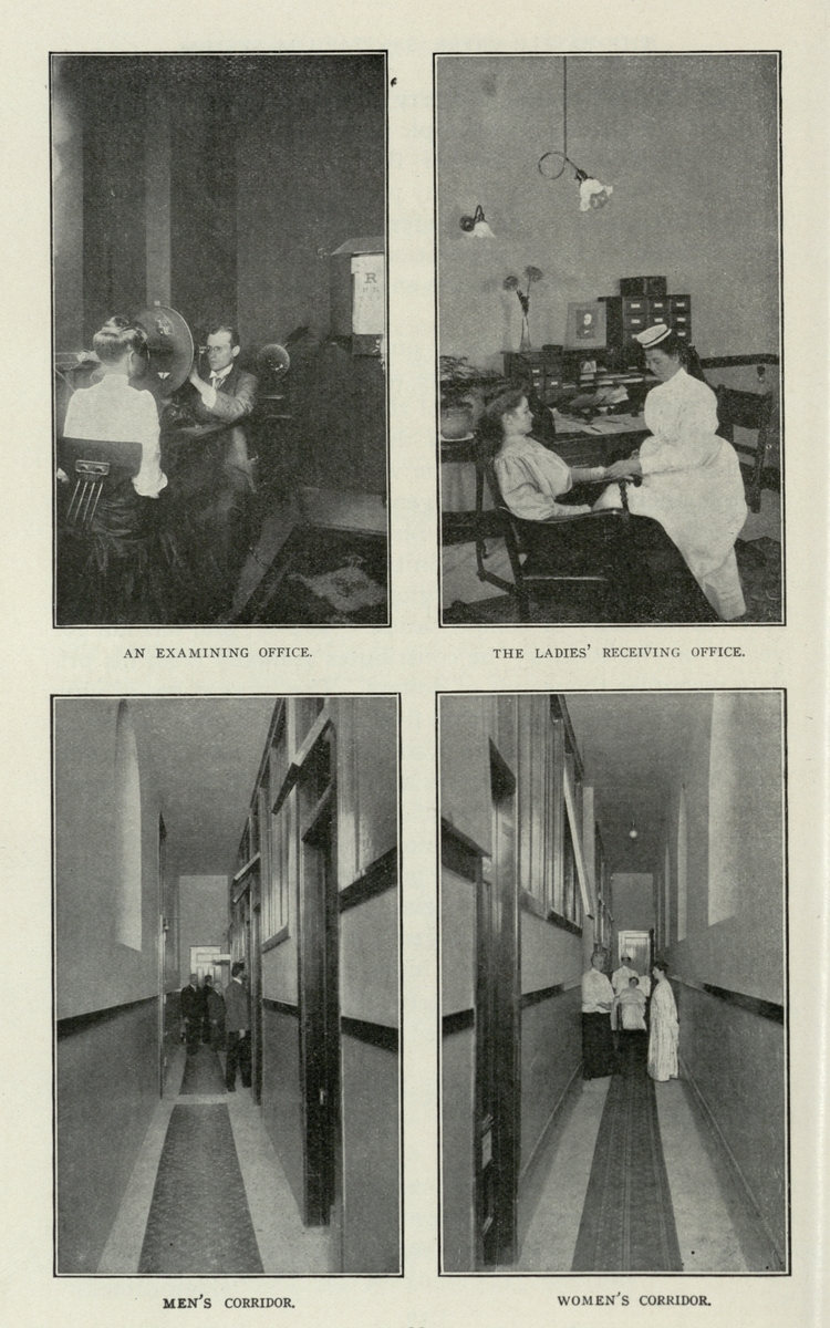 An Examining Office. / The Ladies' Receiving Office. / Men's Corridor. / Women's Corridor.