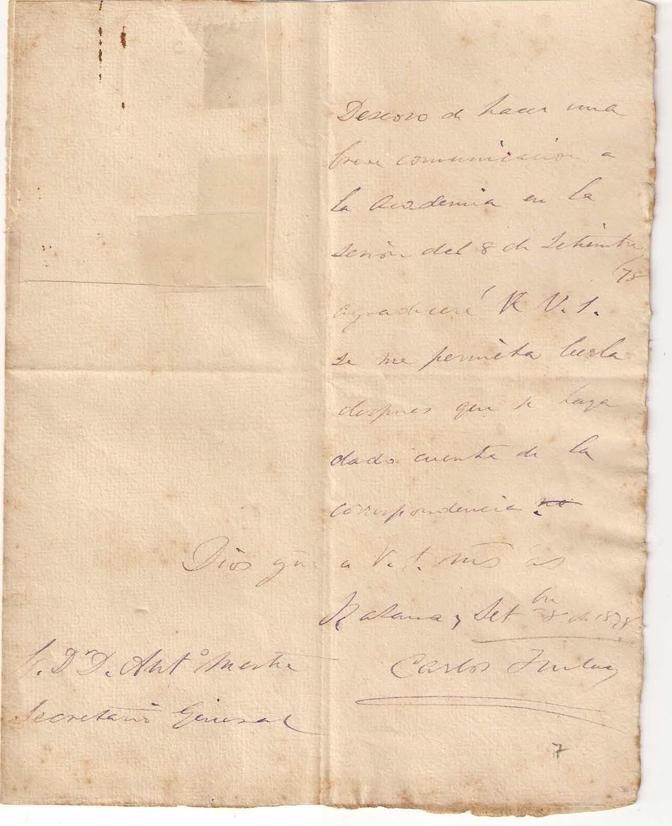 Autographed letter from Dr. Carlos Finlay requesting an opportunity to meet with the members of the Academy of Sciences in Havana, 1878