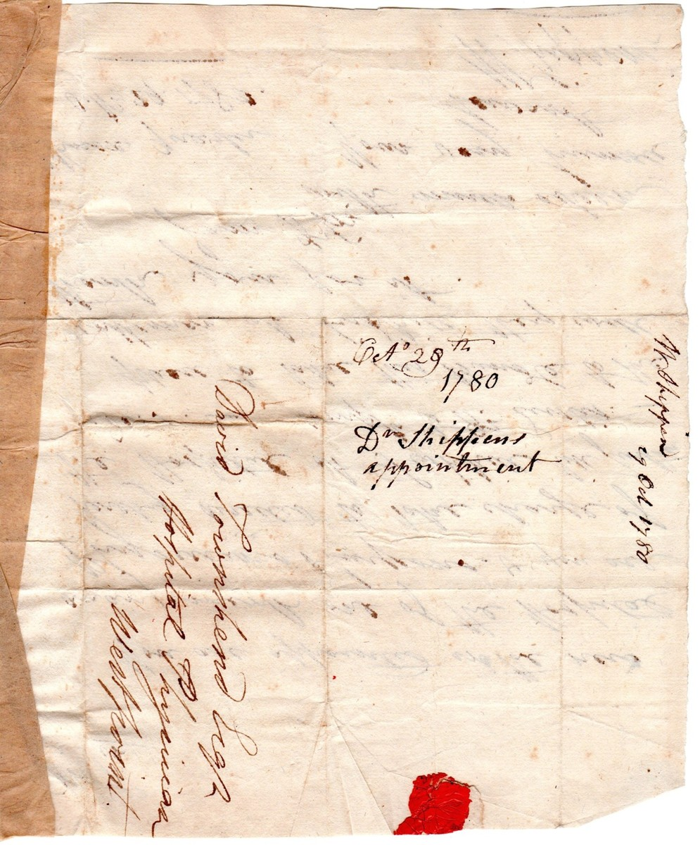 Letter from Dr. William Shippen, Continental Army Director of Hospitals, appointing David Townsend, MD, to command the Army Hospital at Fishkill, New York, in 1780