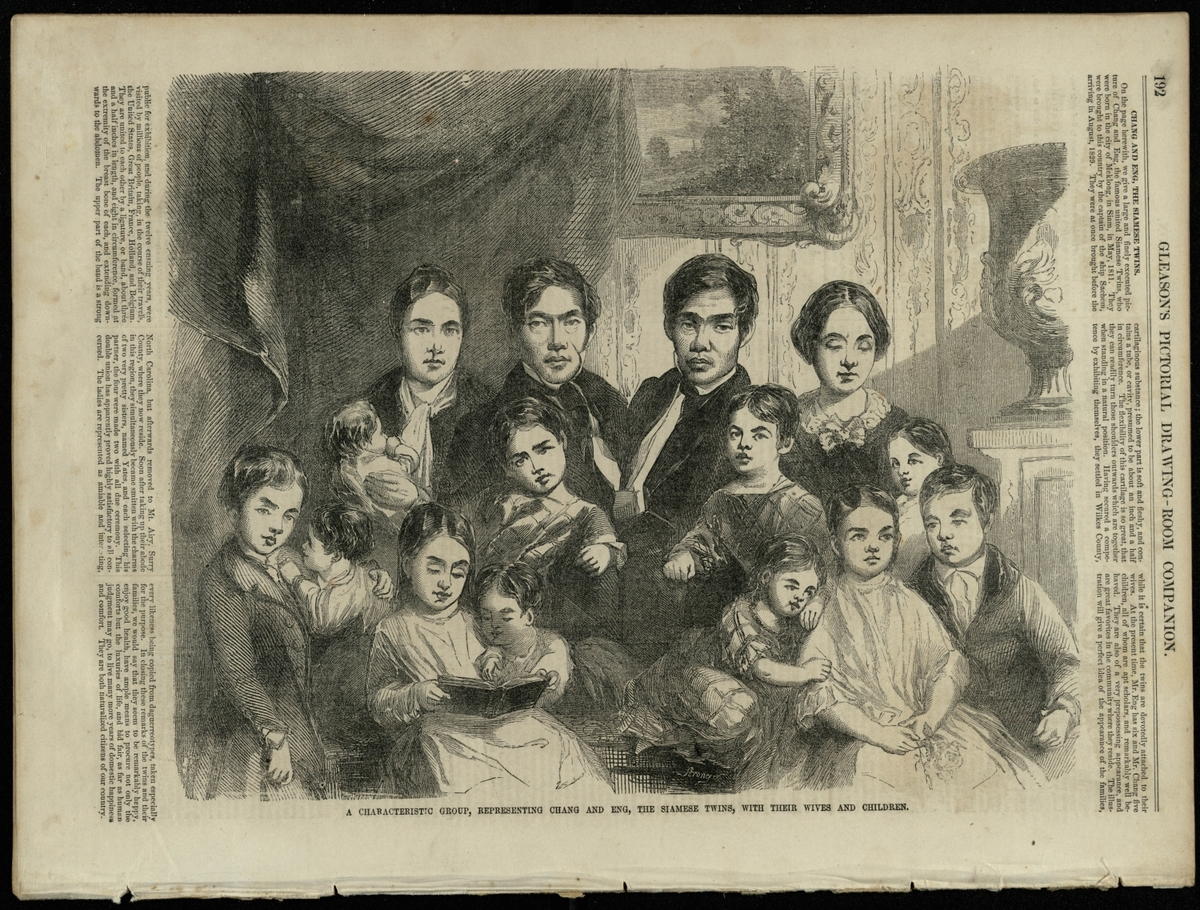 Chang and Eng Bunker and their families, 1853