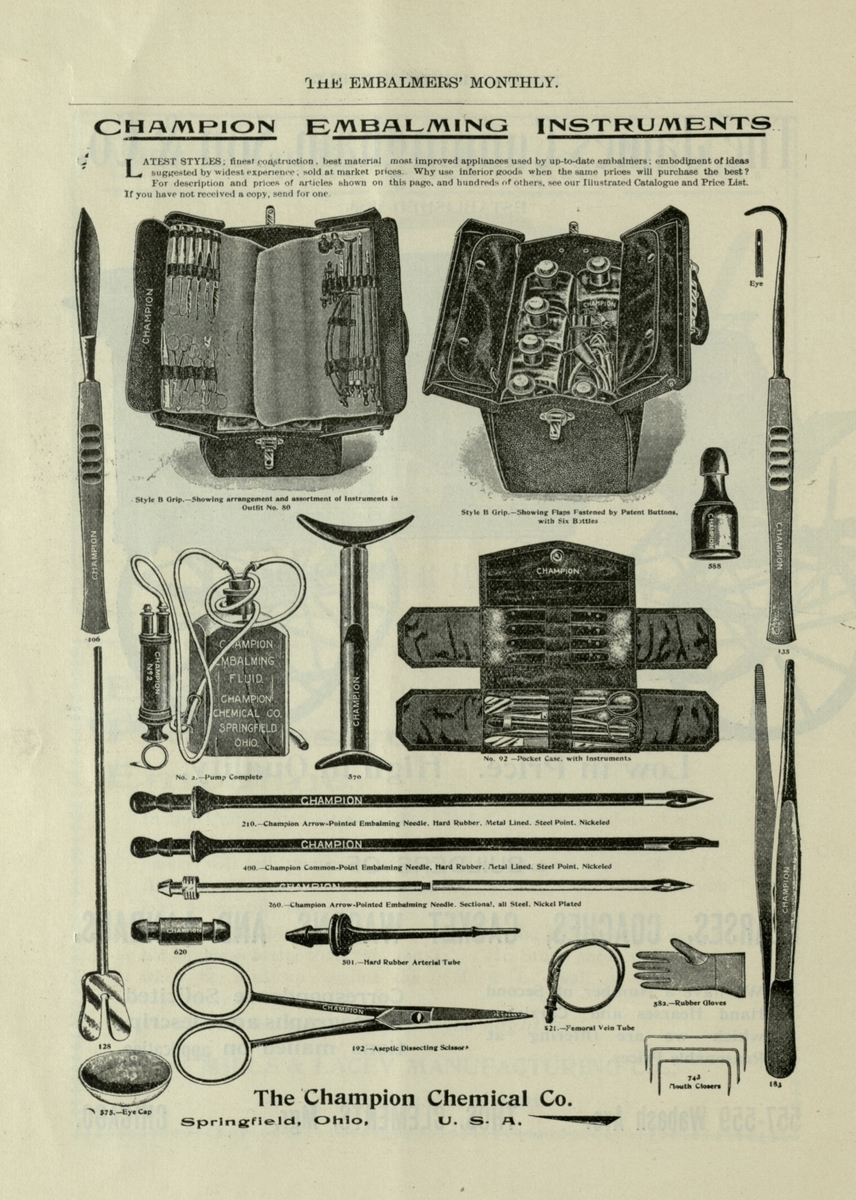 Tools for the up-to-date embalmer, 1898