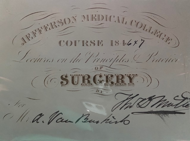 Surgery course ticket signed by Thomas Dent Mütter