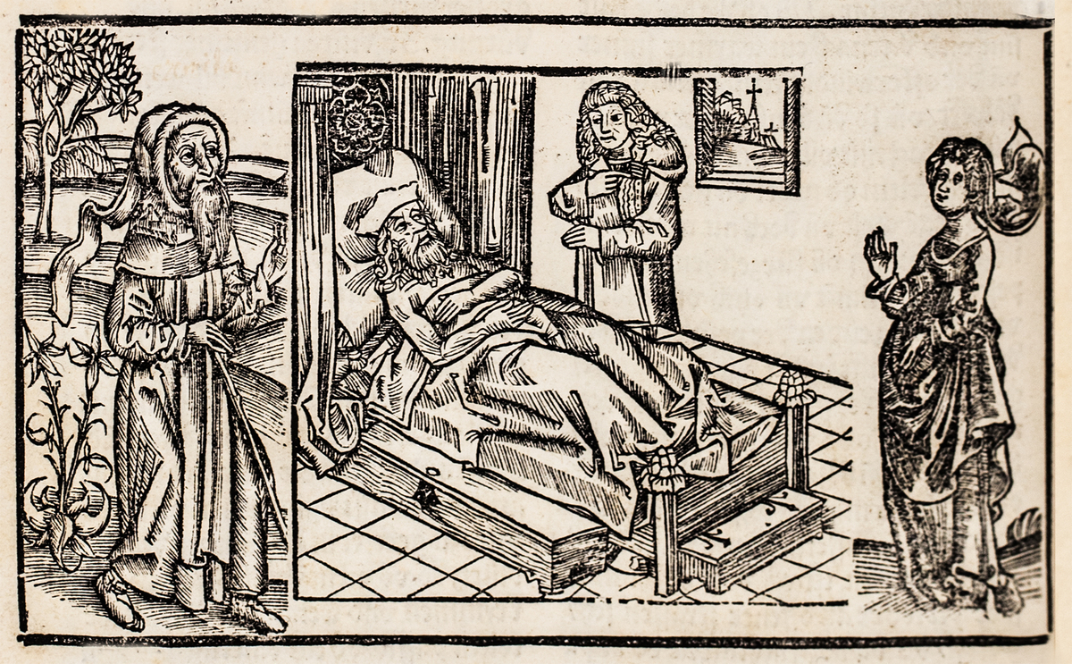 Sick man in bed with three figures