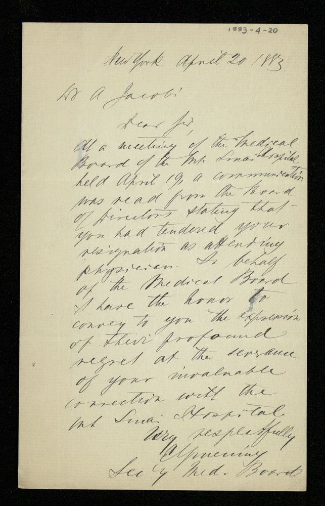Abraham Jacobi letters relating to Mount Sinai Hospital, New York [12]