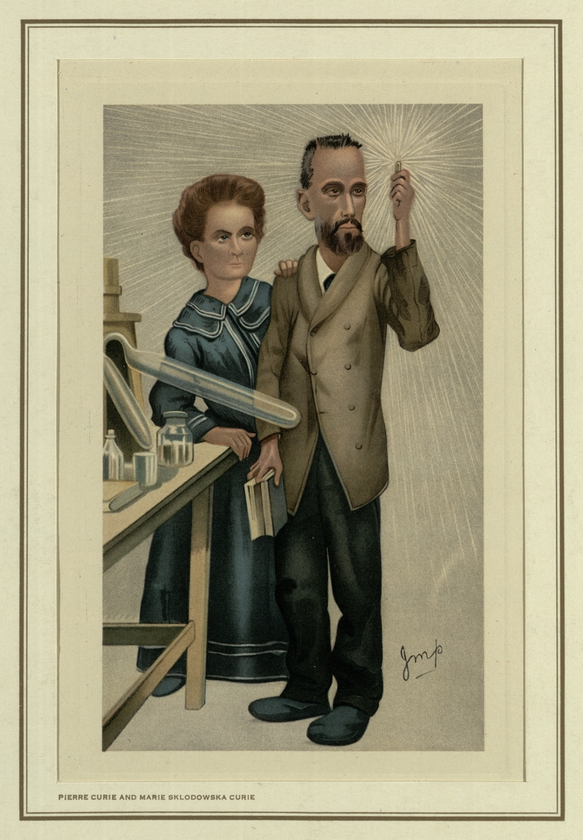 Caricature of Marie and Pierre Curie