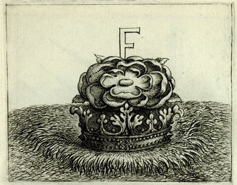 """""""F"""" on a rose in a crown"""