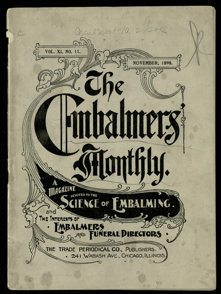 Cover of The Embalmers' Monthly V. XI No. 11 1898