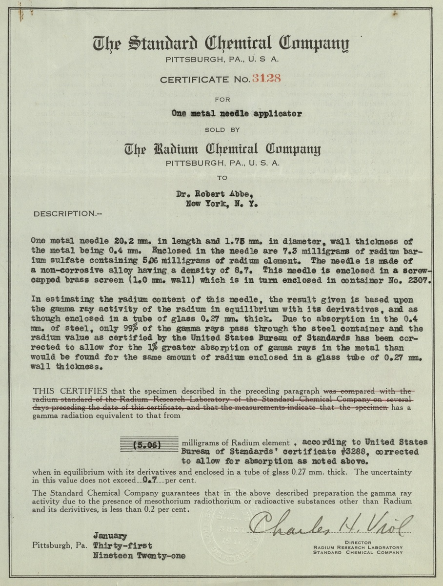 Standard Chemical Company certificate for Radium needle applicator
