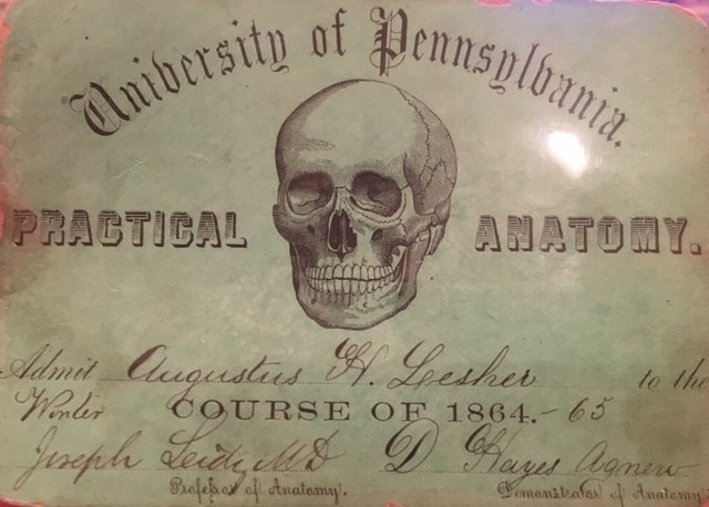 Anatomy course ticket signed by Joseph Leidy and D. Hayes Agnew