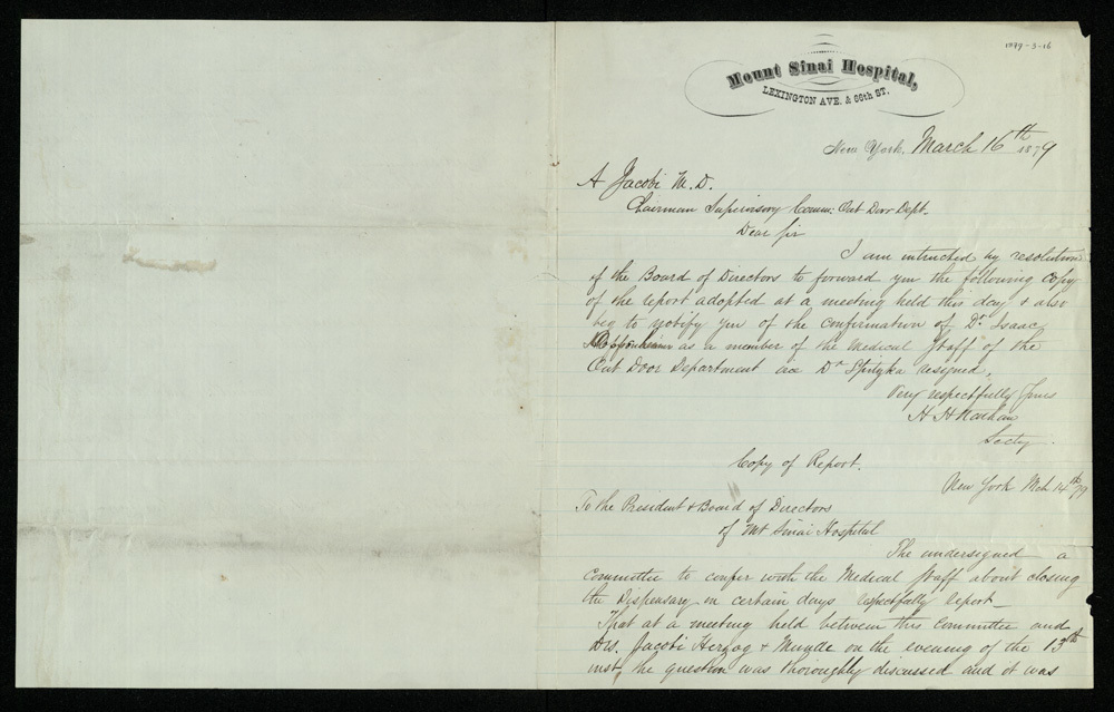Abraham Jacobi letters relating to Mount Sinai Hospital, New York [3]