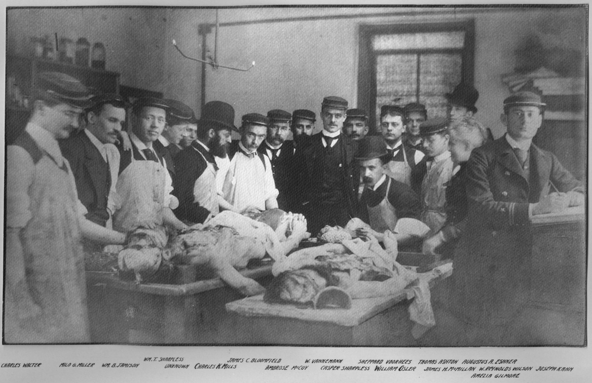William Osler at the autopsy table with a group of physicians