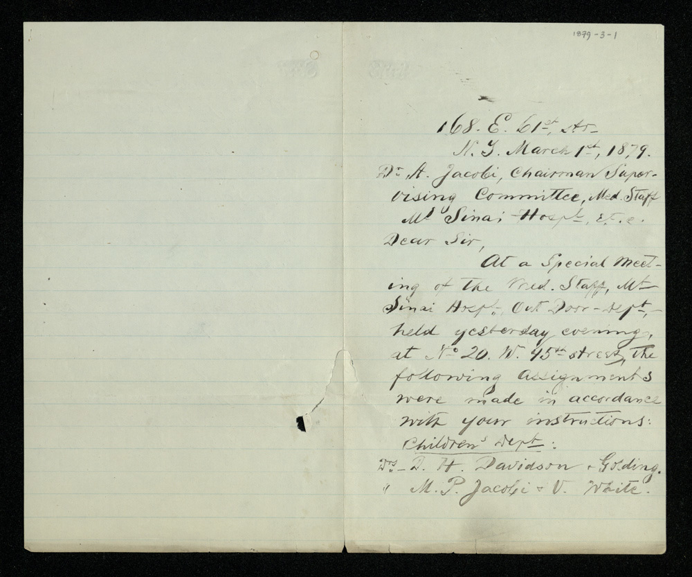 Abraham Jacobi letters relating to Mount Sinai Hospital, New York [2]