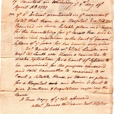 Hospital to be erected for smallpox inoculation in Taunton, Massachusetts, in 1777