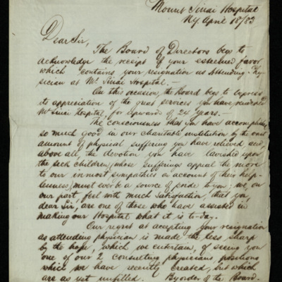Abraham Jacobi letters relating to Mount Sinai Hospital, New York [11]