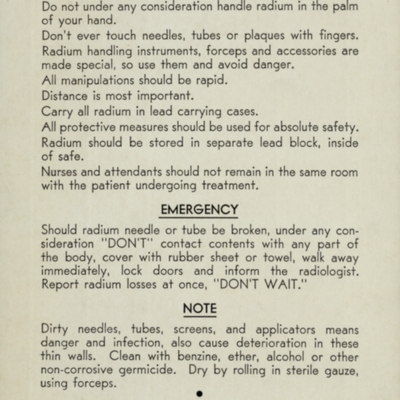 """Radium Department, """"Do Nots"""" and Things To Do"""