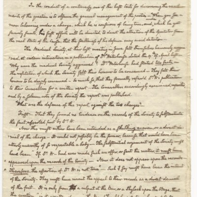 An autograph document from John Quincy Adams, while senator from Massachusetts, defending Dr. Benjamin Waterhouse, first vaccinator in the united states, regarding a controversy over his smallpox vaccine with the Massachusetts Medical Society, circa 1806