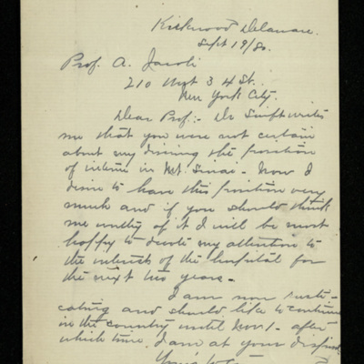 Abraham Jacobi letters relating to Mount Sinai Hospital, New York [9]