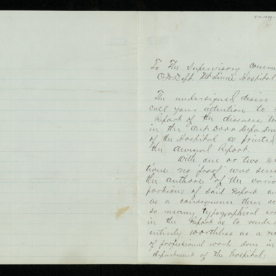 Abraham Jacobi letters relating to Mount Sinai Hospital, New York [5]