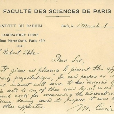 Letter from M. Curie to Robert Abbe