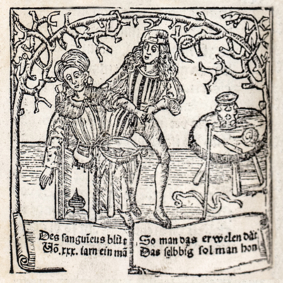Woman being bled by a barber surgeon