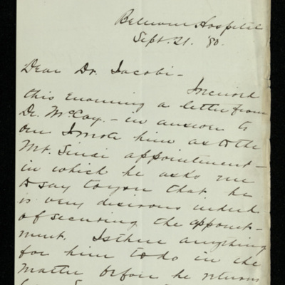 Abraham Jacobi letters relating to Mount Sinai Hospital, New York [10]