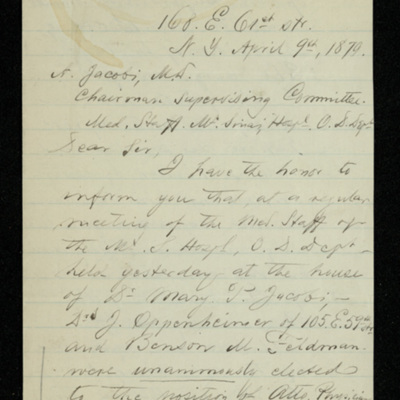 Abraham Jacobi letters relating to Mount Sinai Hospital, New York [4]