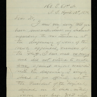 Abraham Jacobi letters relating to Mount Sinai Hospital, New York [6]