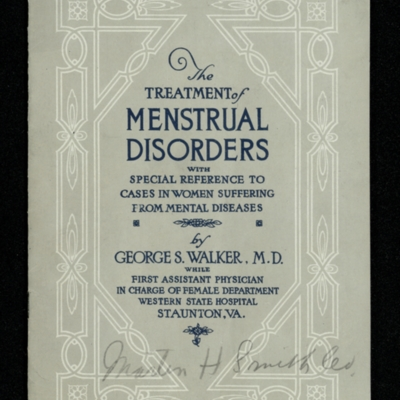 The Treatment of Menstrual Disorders with Special Reference to Cases in Women Suffering from Mental Diseases