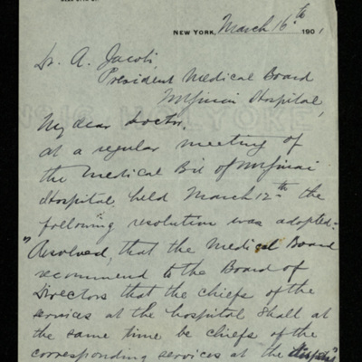 Abraham Jacobi letters relating to Mount Sinai Hospital, New York [13]