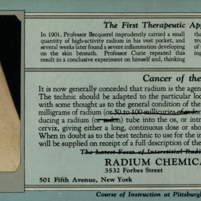 The First Therapeutic Application of Radium promotional card