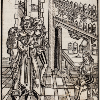 Doctor, students, and apprentice in the apothecary