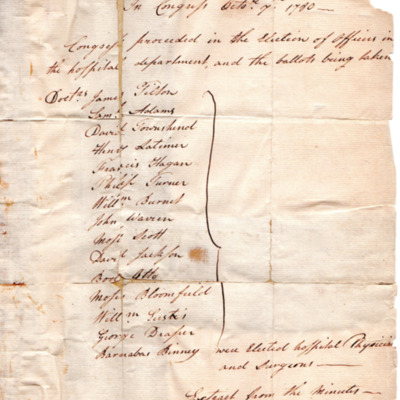 Congressional list of physicians and surgeons to serve in the Continental Army