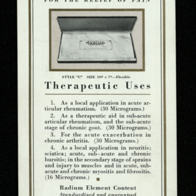 """Standard"" Radium Compress for the Relief of Pain"