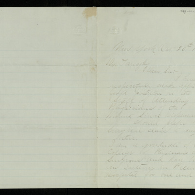 Abraham Jacobi letters relating to Mount Sinai Hospital, New York [8]
