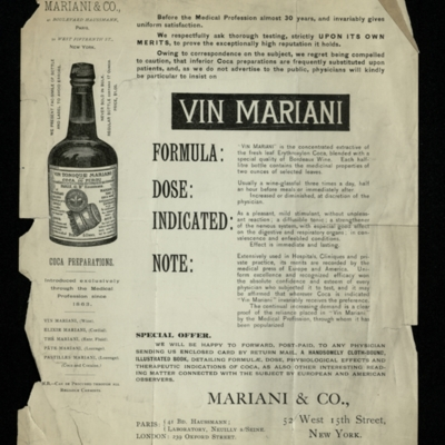 Illustrated Handbill Advertising Vin Mariani