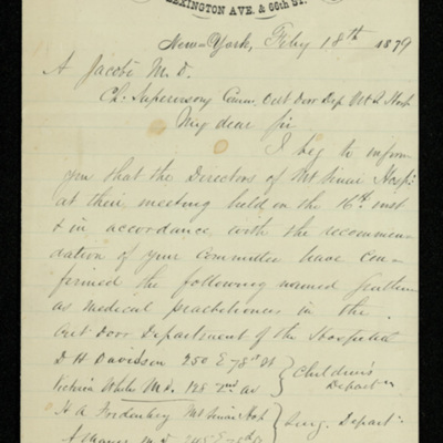 Abraham Jacobi letters relating to Mount Sinai Hospital, New York [1]