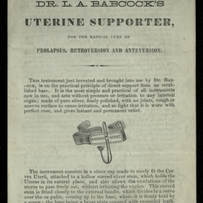 Dr. L.A. Babcock's Uterine Supporter