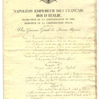 The official manuscript document from Napoleon establishing smallpox vaccination in 1813