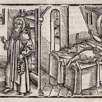 Sick man in bed attended by two figures