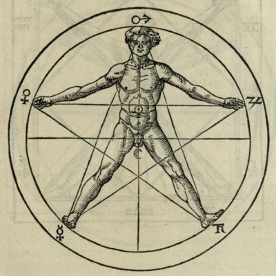 Man inscribed in a pentagram