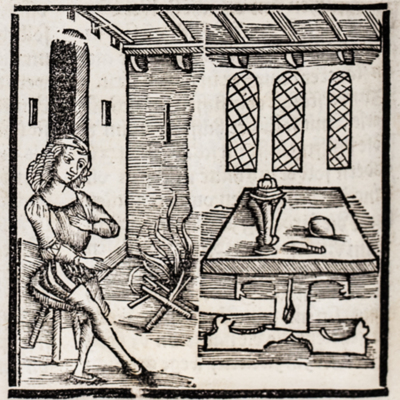 Man seated at fire by table with instruments