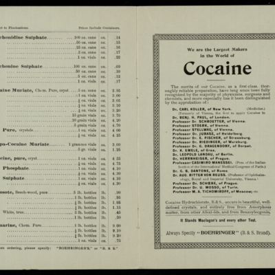 Boehringer, C.F. and Soehne, cocaine advertising pamphlet cover