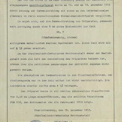 Receipt for radium purchase from Physikalisch-Technische Reichsanstalt by Robert Abbe